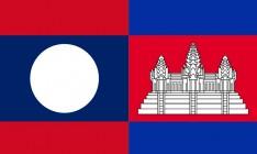 flag of Lao People's Democratic Republic and the Kingdom of Cambodia