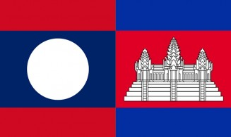 flag of Lao People's Democratic Republic and the Kingdom of Cambodia